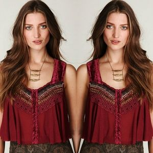 🆕️FREE PEOPLE - native rose crop top/cranberry